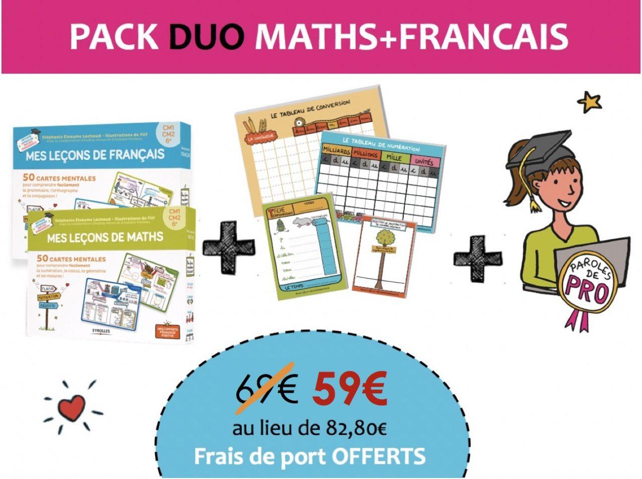 Pack Duo Cartes mentales Maths et Francais cycle 3-Soldes
