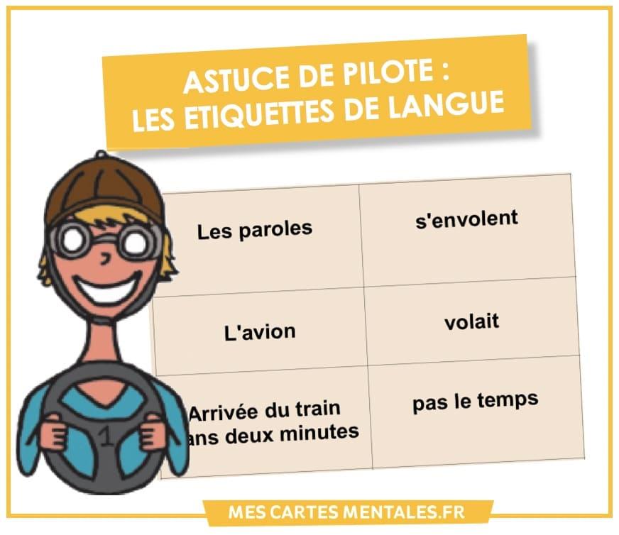 Astuce de pilote-etiquette de langue