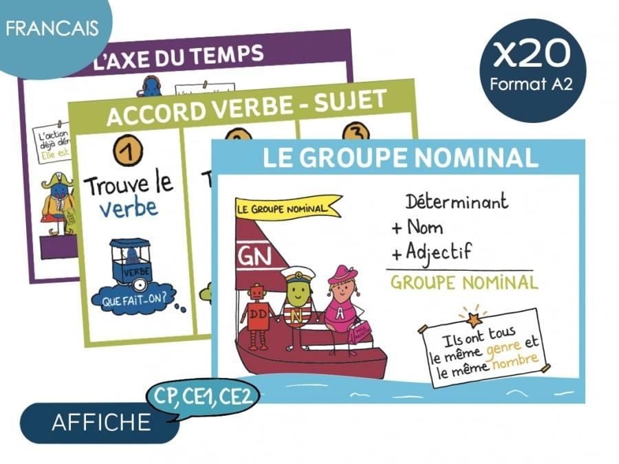 Affiche Francais- Cycle 2, CP, CE1, CE2