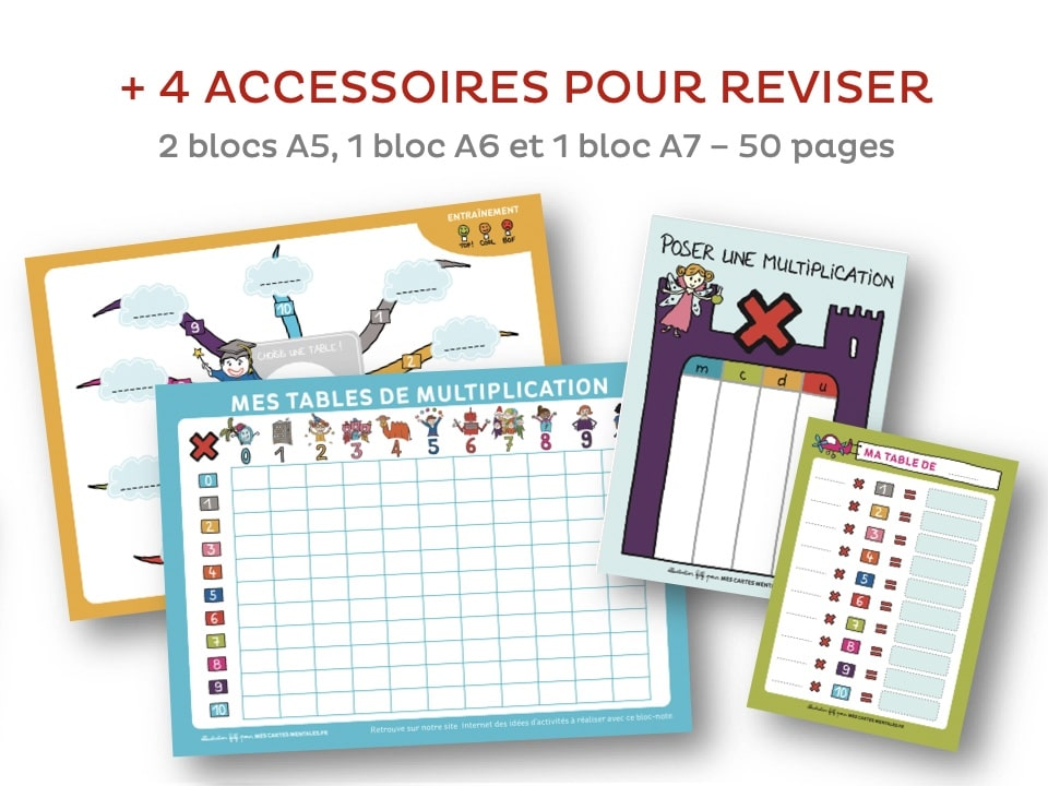 J'apprends les multiplications-4 blocs notes