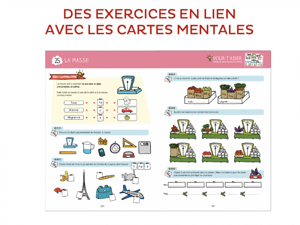 Pack carte mentale maths CP, CE1, CE2 + cahier d'exercices