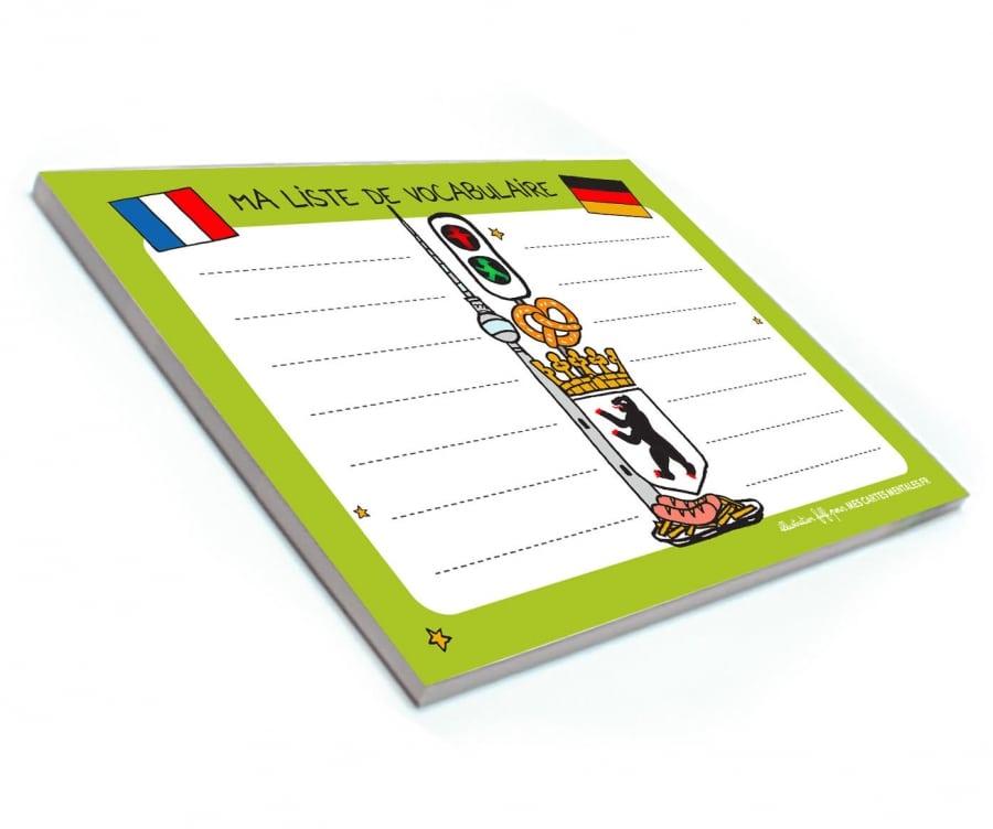 Bloc-notes vocabulaire allemand